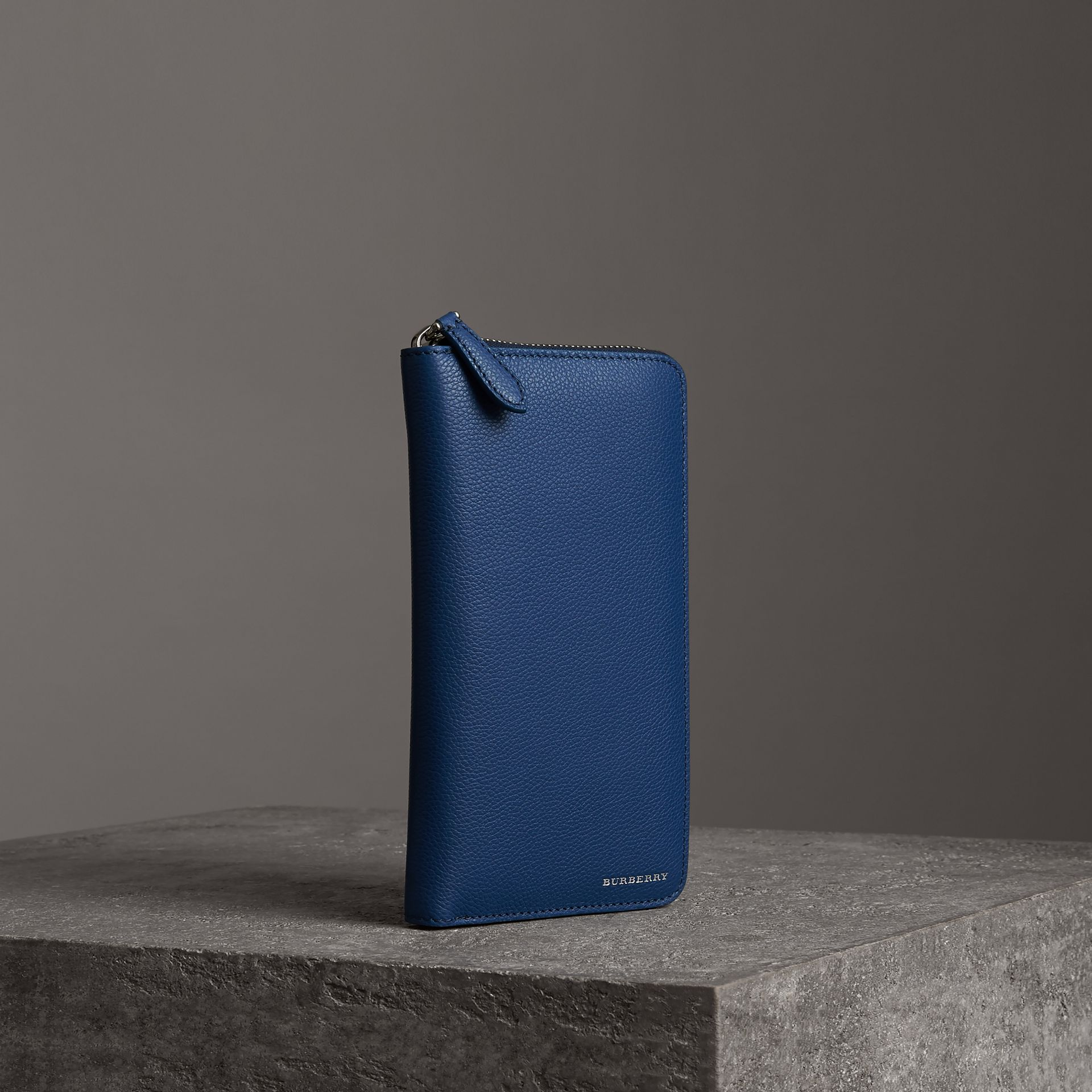Grainy Leather Ziparound Wallet in Bright Ultramarine - Men | Burberry - gallery image 0