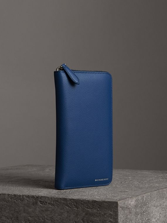 Grainy Leather Ziparound Wallet in Bright Ultramarine