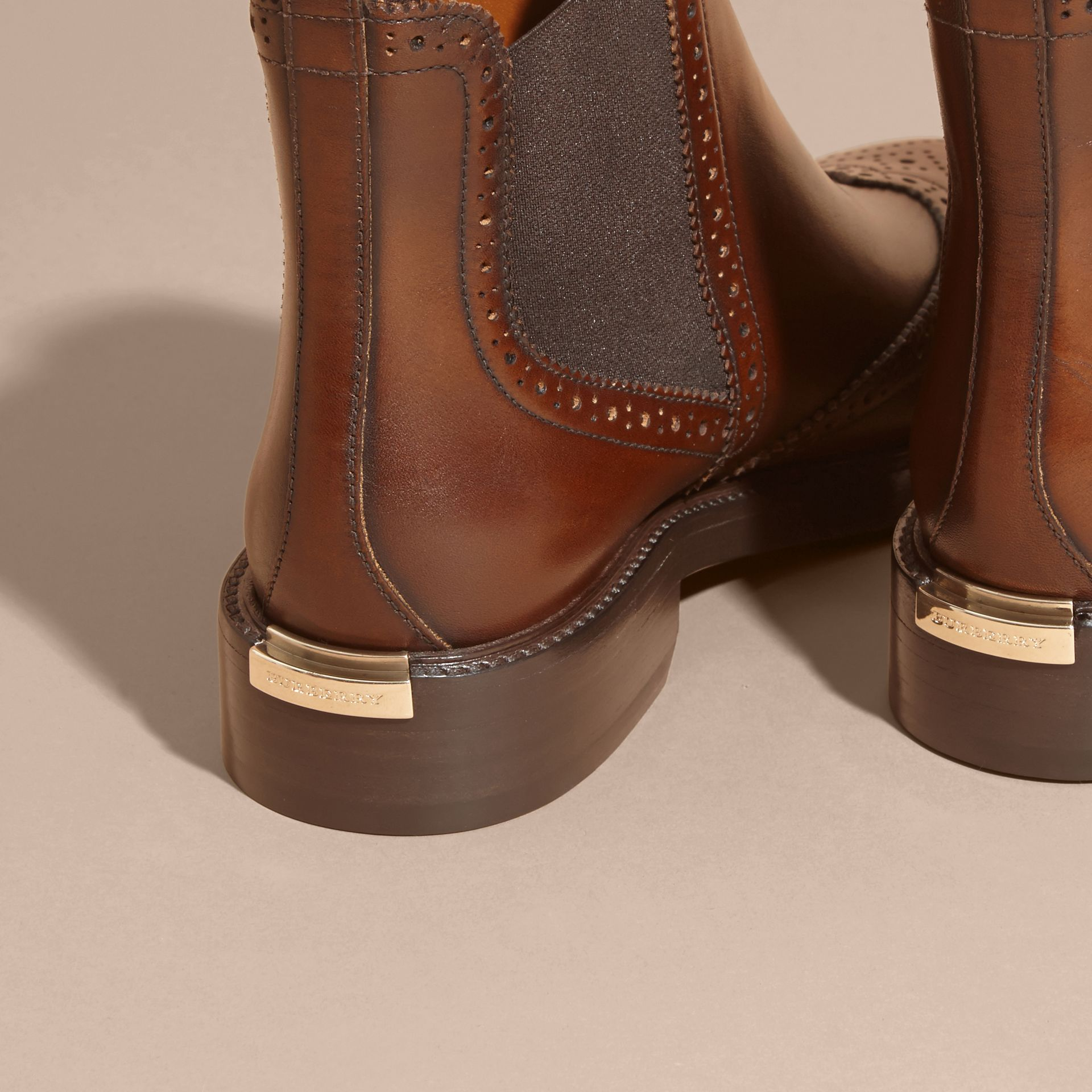 Leather Wingtip Chelsea Boots - gallery image 3