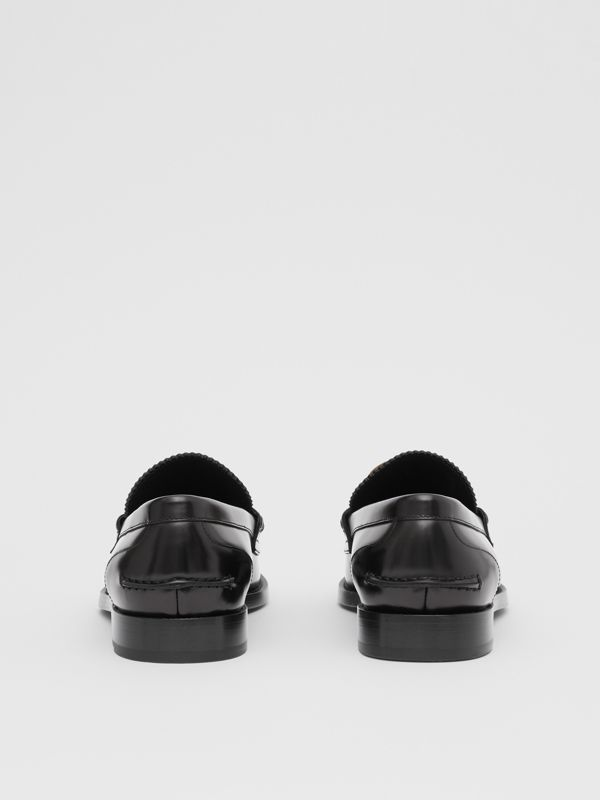 Monogram Motif Leather Loafers in Black - Men | Burberry - cell image 3