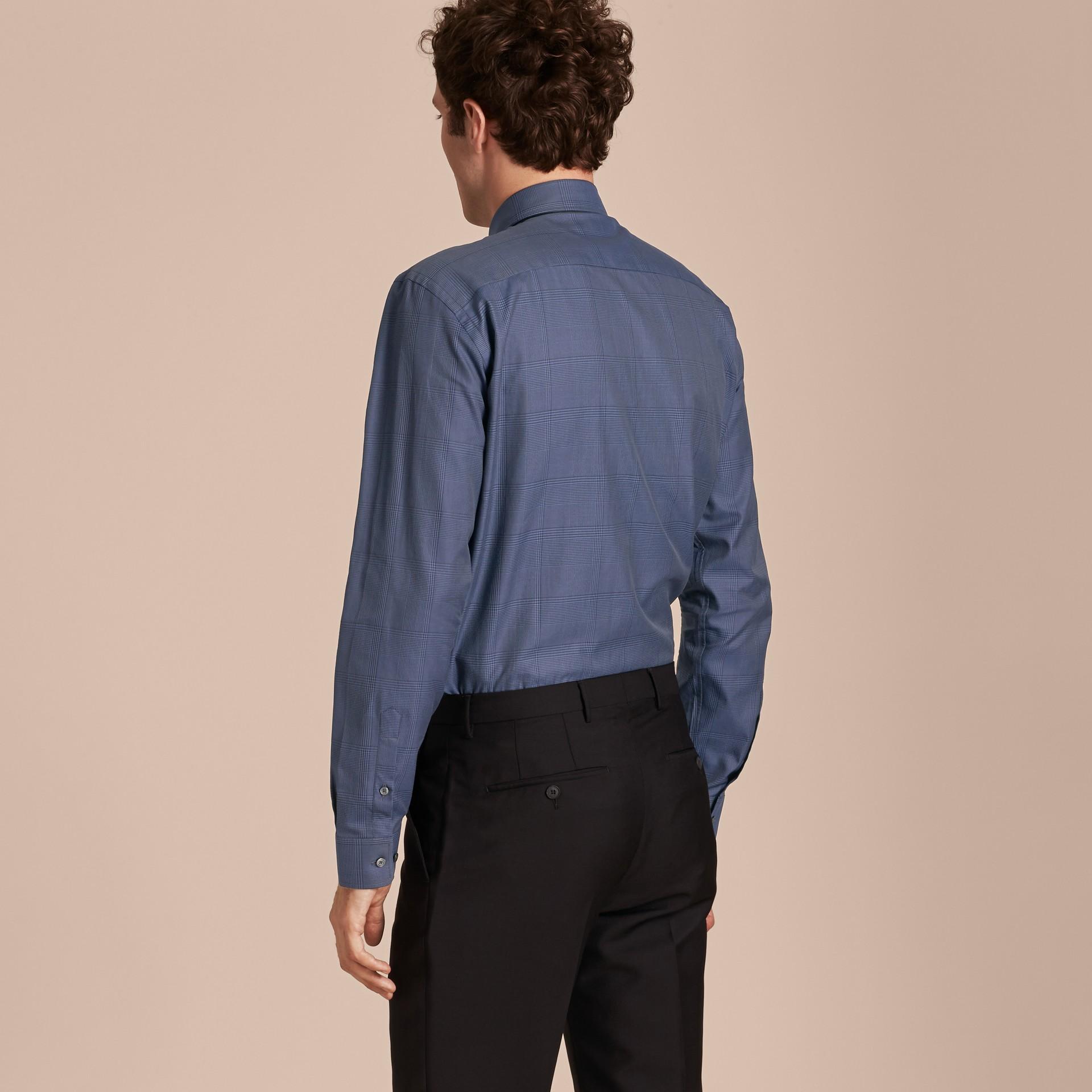 Modern Fit Check Cotton Poplin Shirt Bright Navy - gallery image 3