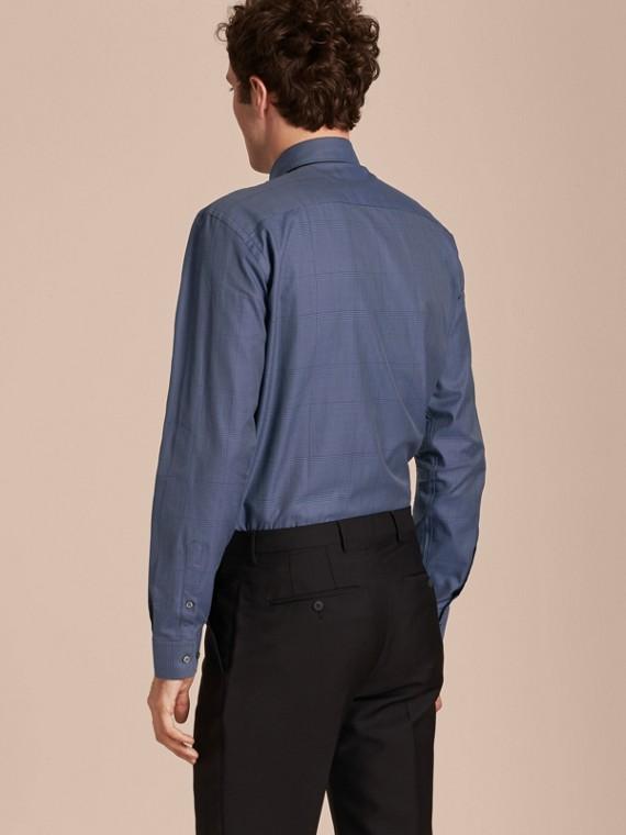 Modern Fit Check Cotton Poplin Shirt Bright Navy - cell image 2