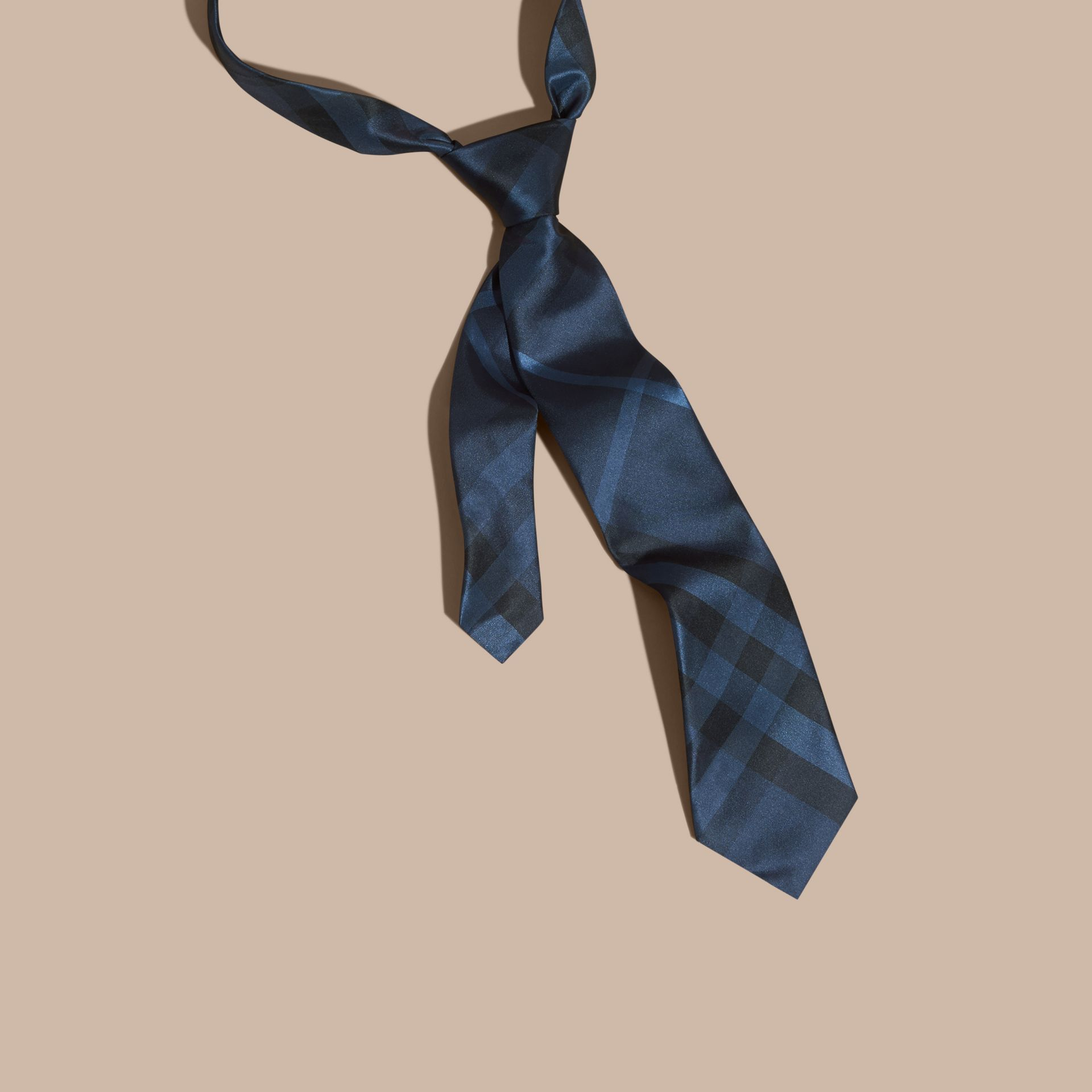 Classic Cut Check Silk Tie in Navy - Men | Burberry - gallery image 1