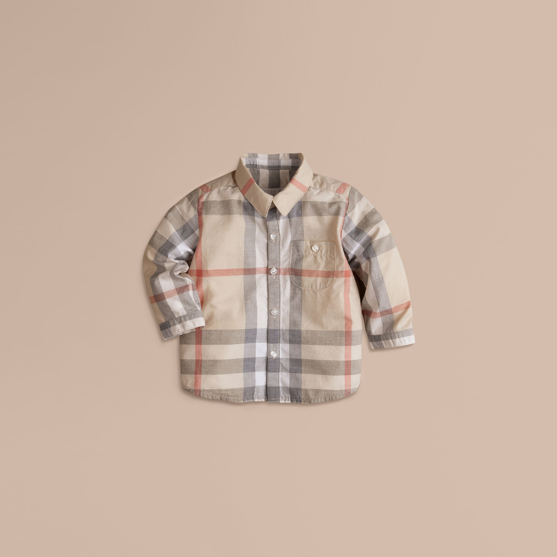 Washed Check Cotton Shirt in Pale Classic - Boy | Burberry Canada - gallery image 0