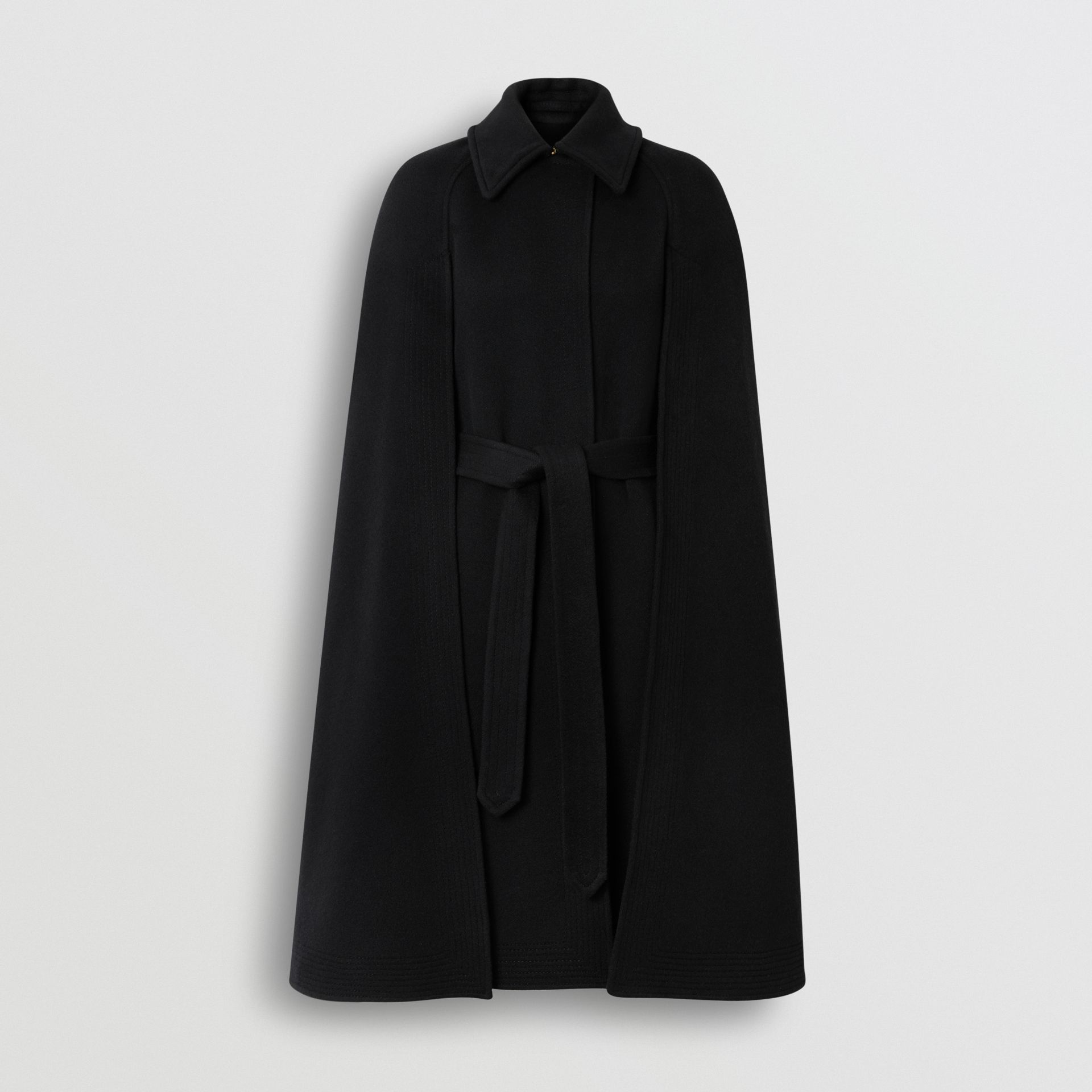 Double-faced Cashmere Belted Cape in Black - Women | Burberry - gallery image 3