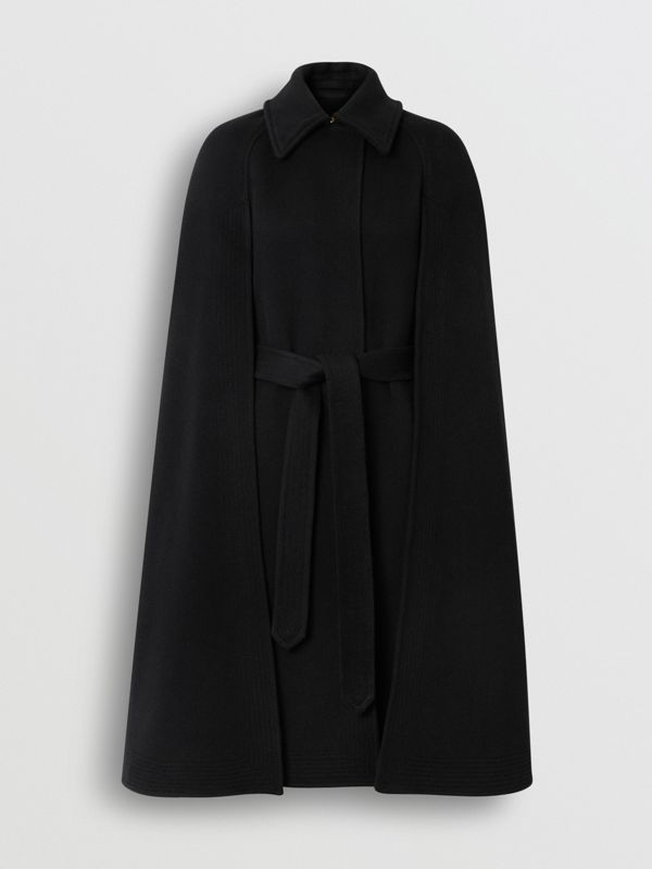 Double-faced Cashmere Belted Cape in Black - Women | Burberry United States - cell image 3