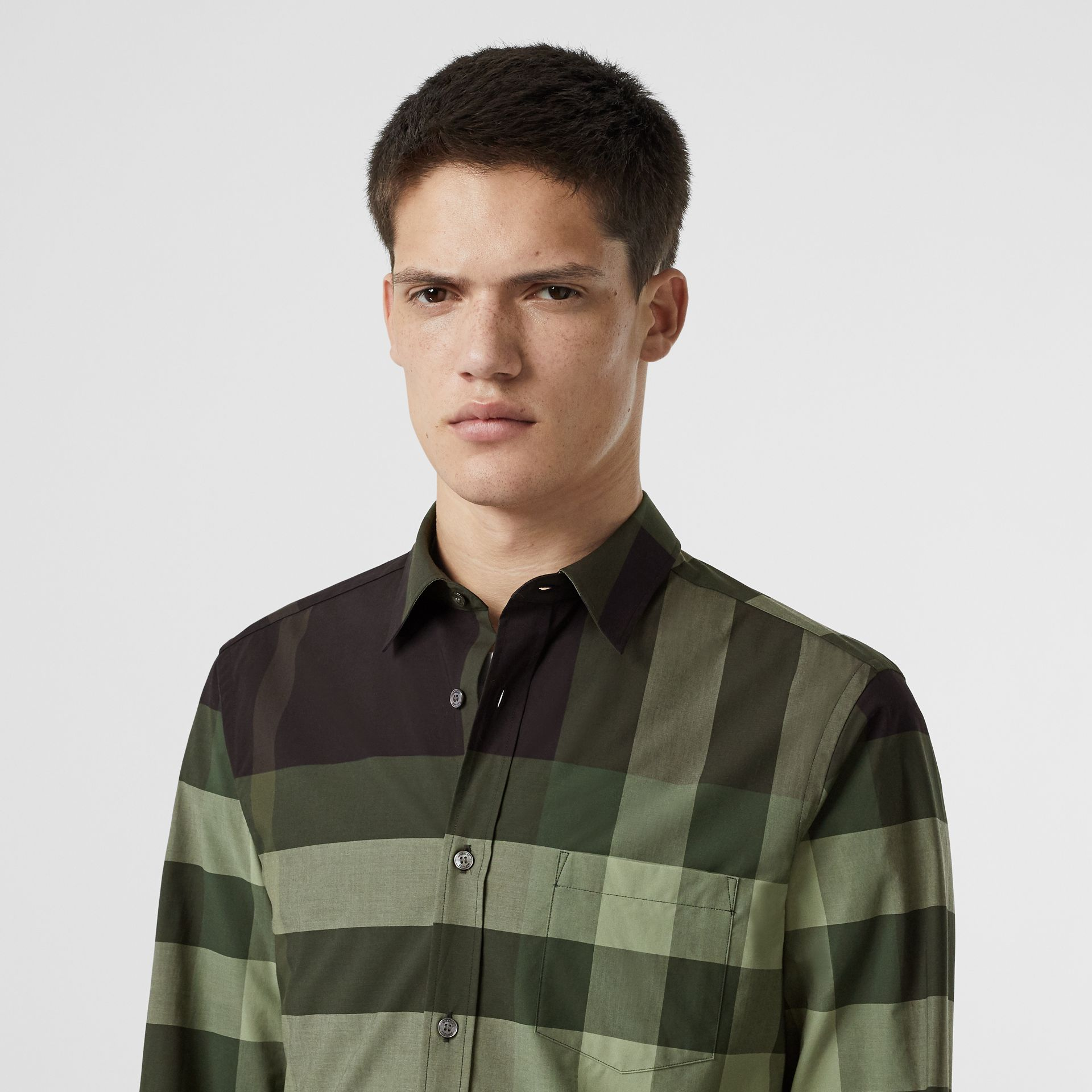 Check Stretch Cotton Shirt in Dark Forest Green - Men | Burberry - gallery image 1