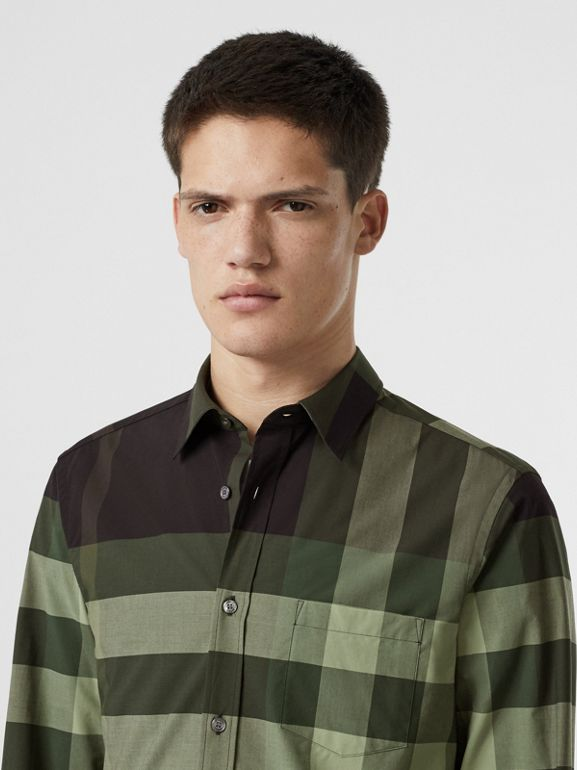 Check Stretch Cotton Shirt in Dark Forest Green - Men | Burberry - cell image 1