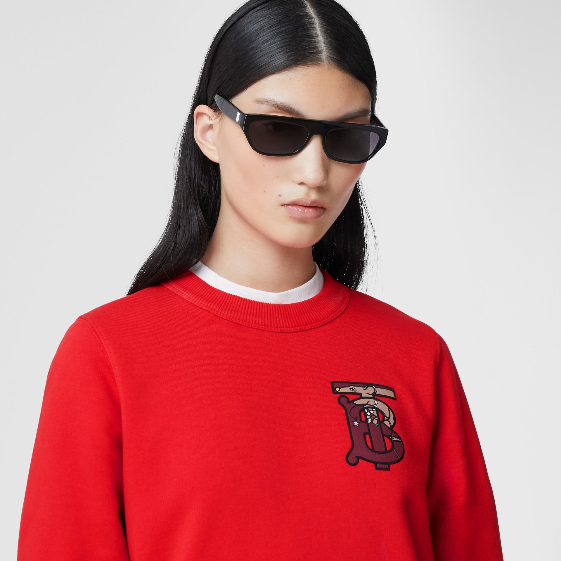 花押字圖案棉質寬版運動衫 (亮紅色) - 女款 | Burberry - 圖庫照片 1