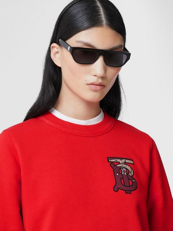 花押字圖案棉質寬版運動衫 (亮紅色) - 女款 | Burberry - cell image 1