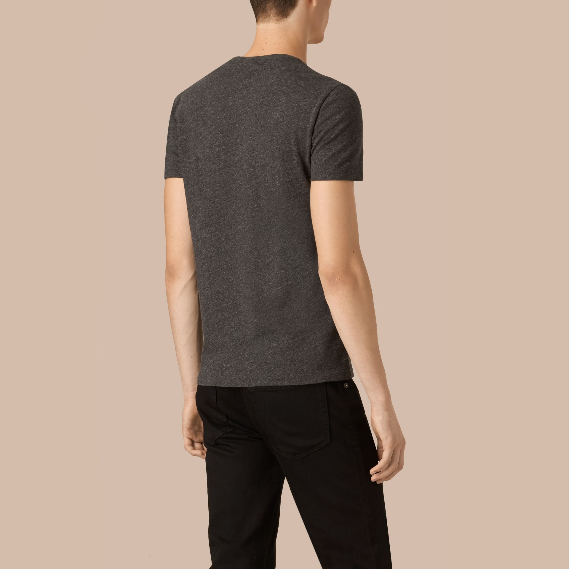 Liquid-soft Cotton T-Shirt Dark Grey Melange - gallery image 3
