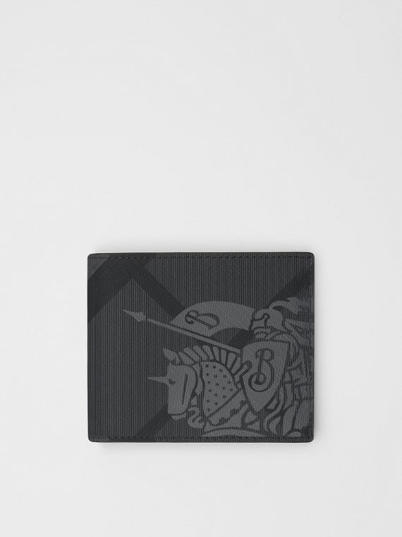 EKD London Check International Bifold Wallet in Charcoal/black