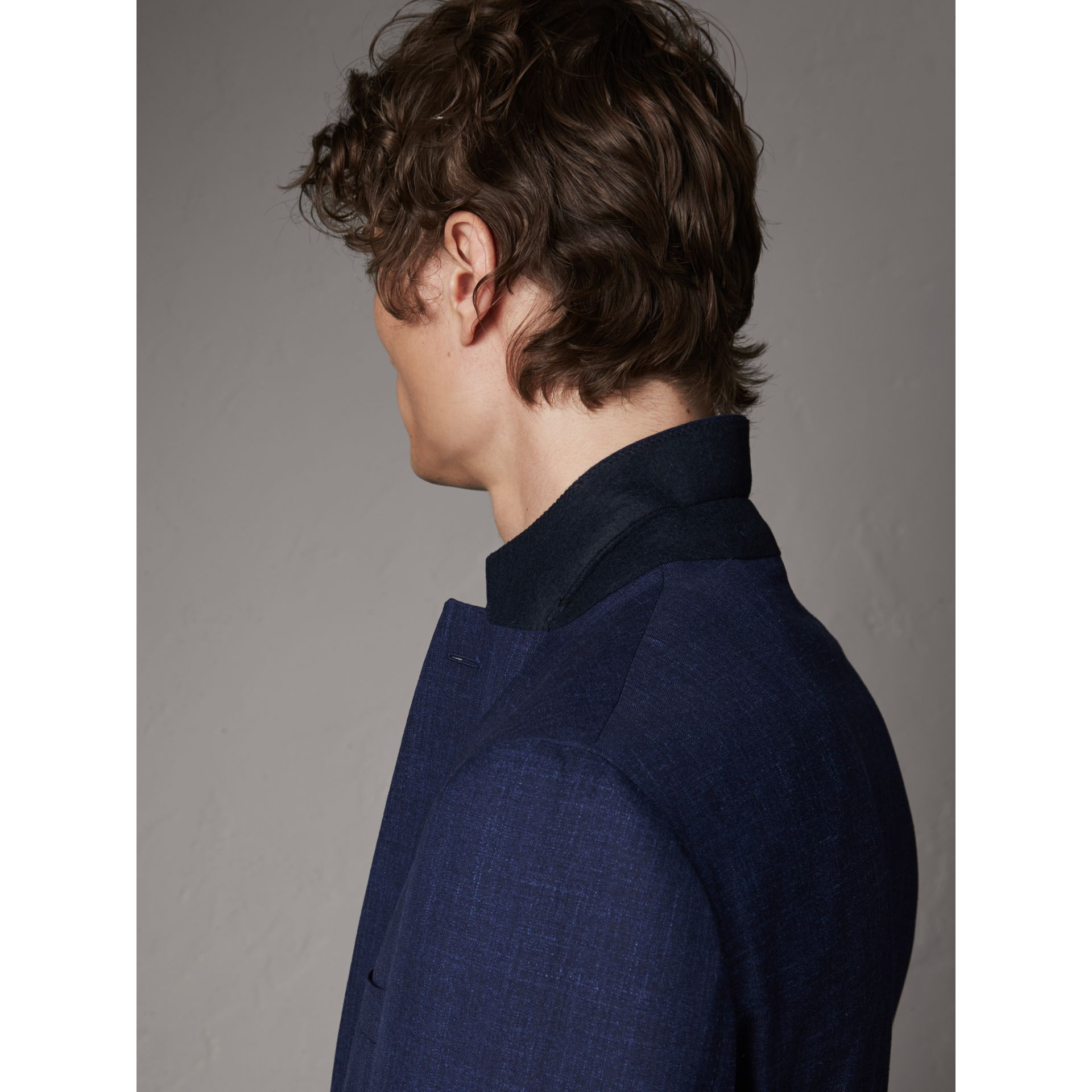 Modern Fit Wool Silk Linen Tailored Half-canvas Jacket in Steel Blue - Men | Burberry Hong Kong - gallery image 5
