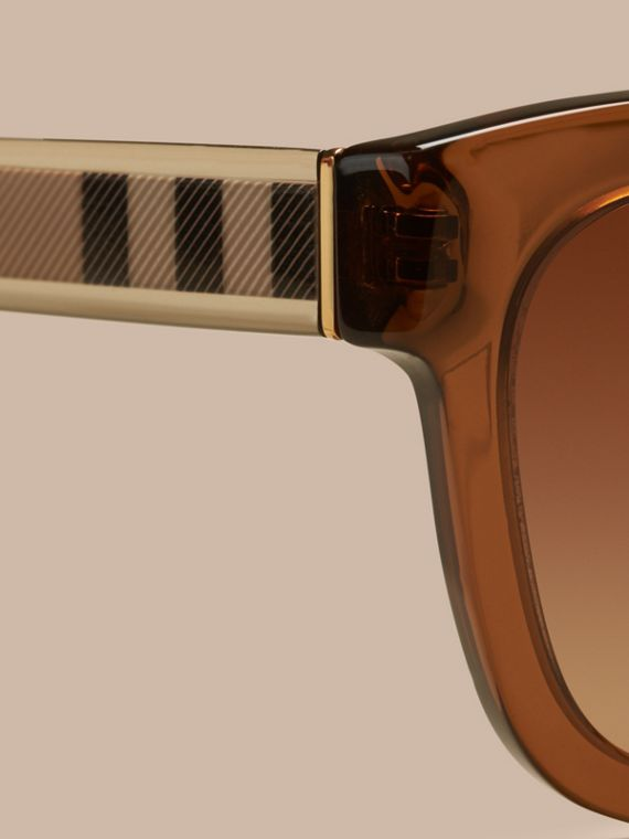 Taupe brown Check Detail Cat-eye Frame Sunglasses Taupe Brown - cell image 2