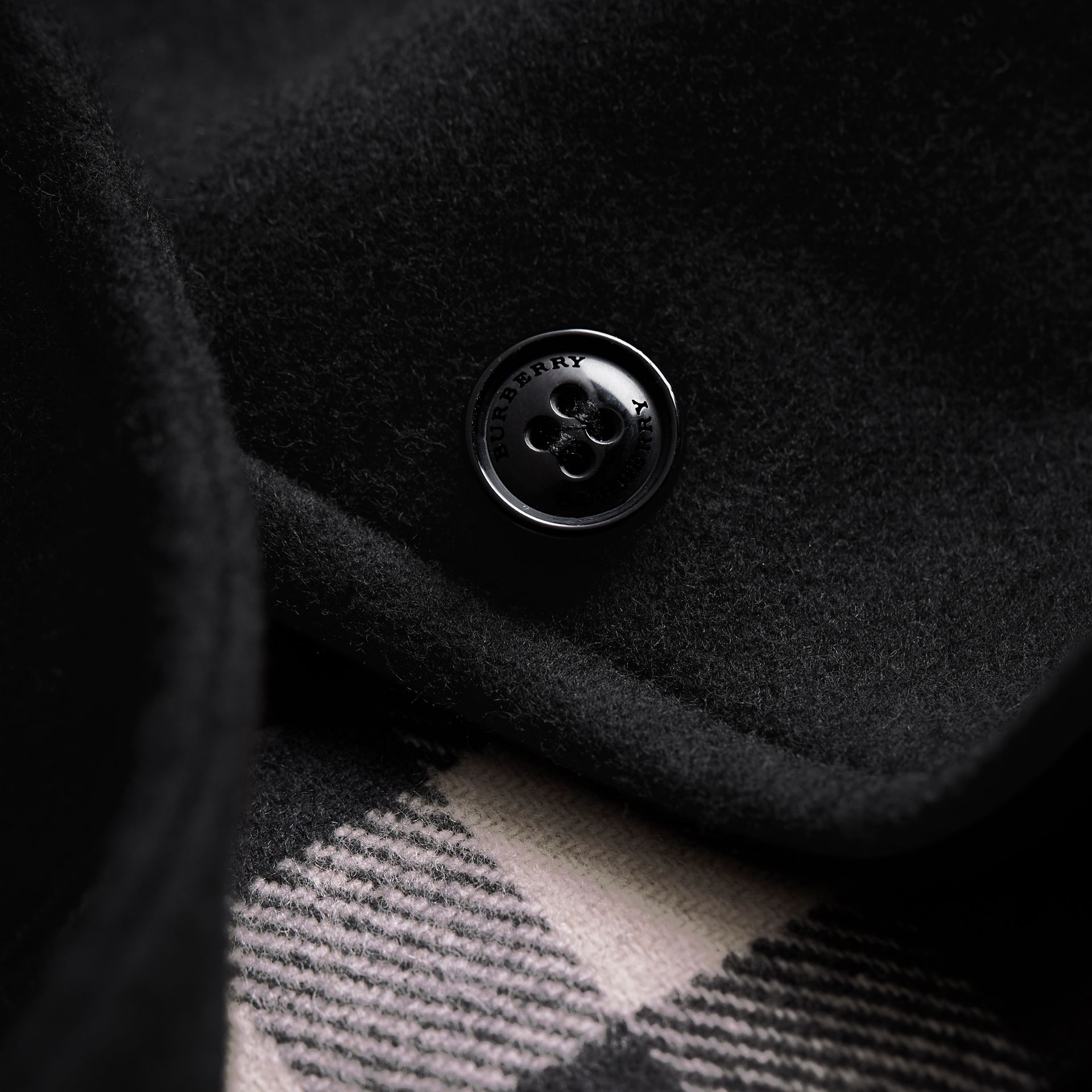 Hooded Check Detail Wool A-line Cape in Black - Girl | Burberry - gallery image 2