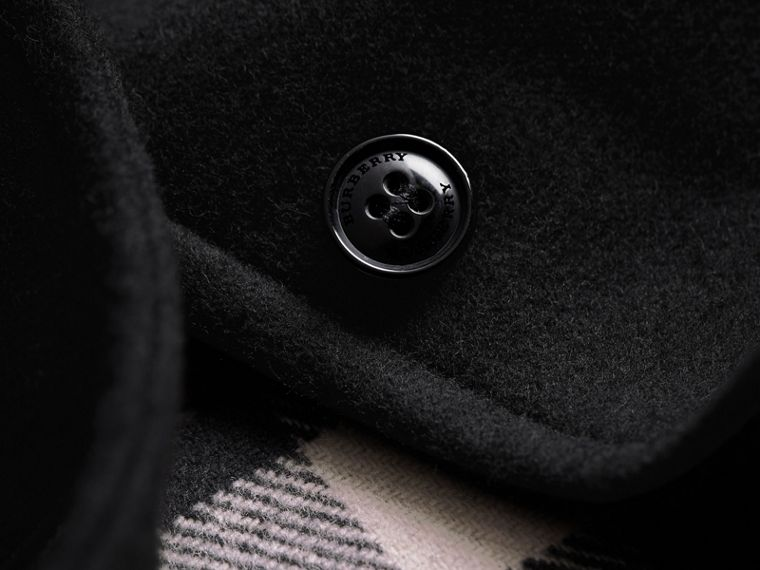 Hooded Check Detail Wool A-line Cape in Black - Girl | Burberry - cell image 1