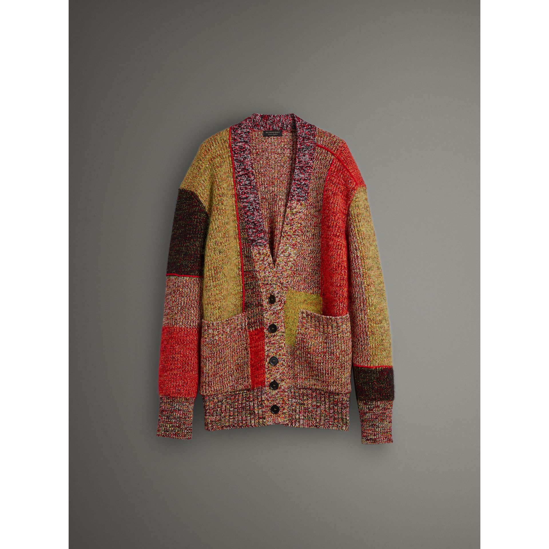 Wool Linen Mohair Blend Mouliné Oversized Cardigan in Multicolour - Women | Burberry Canada - gallery image 4