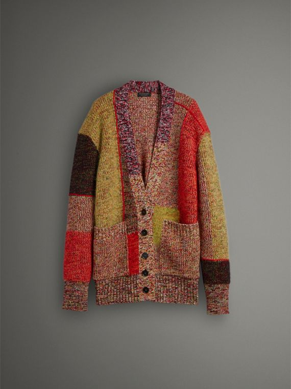 Wool Linen Mohair Blend Mouliné Oversized Cardigan in Multicolour - Women | Burberry Singapore - cell image 3