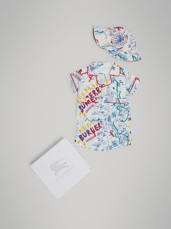 Adventure Print Linen Three-piece Baby Gift Set in Sand | Burberry United Kingdom - cell image 1
