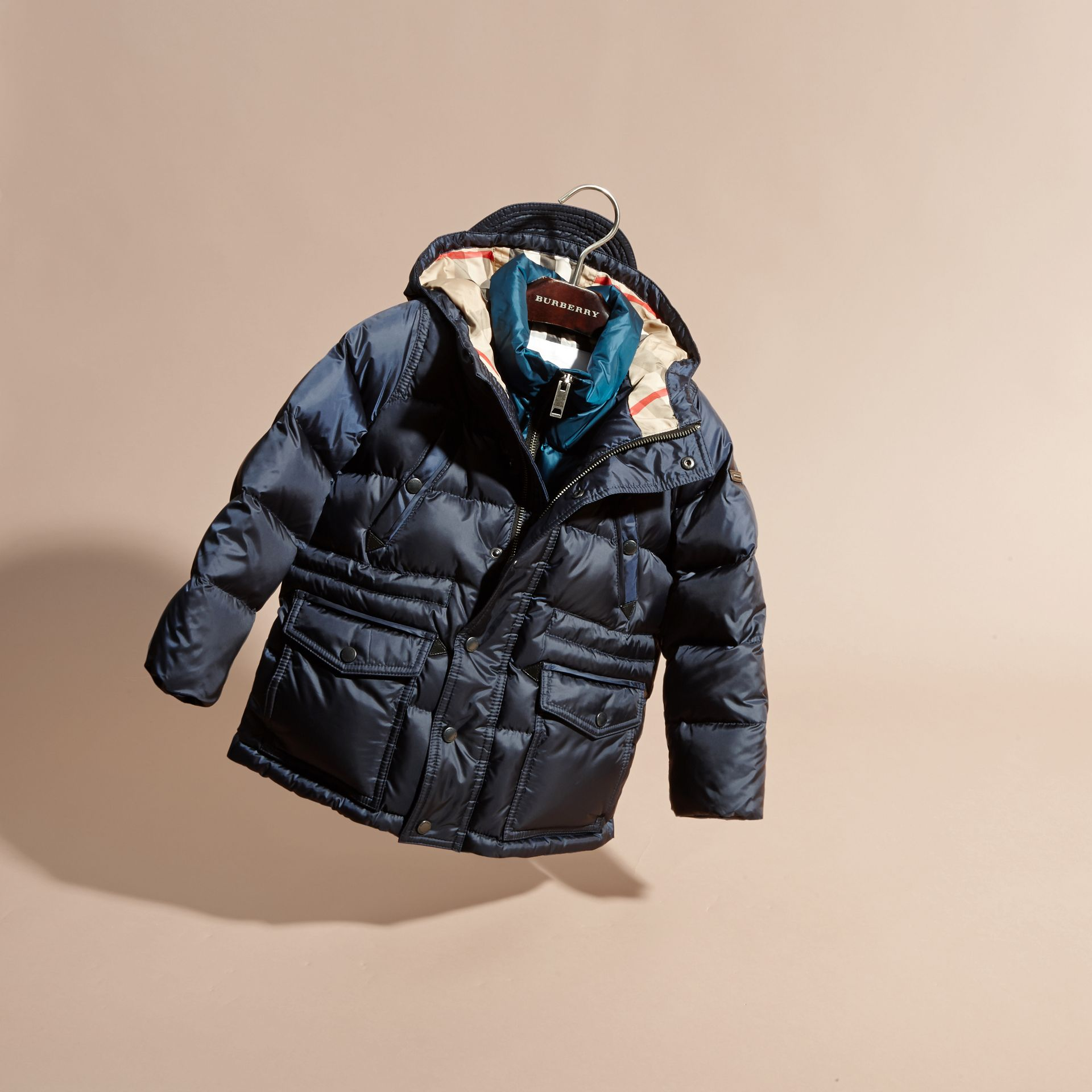 Down-Filled Hooded Puffer Coat in Navy - gallery image 3