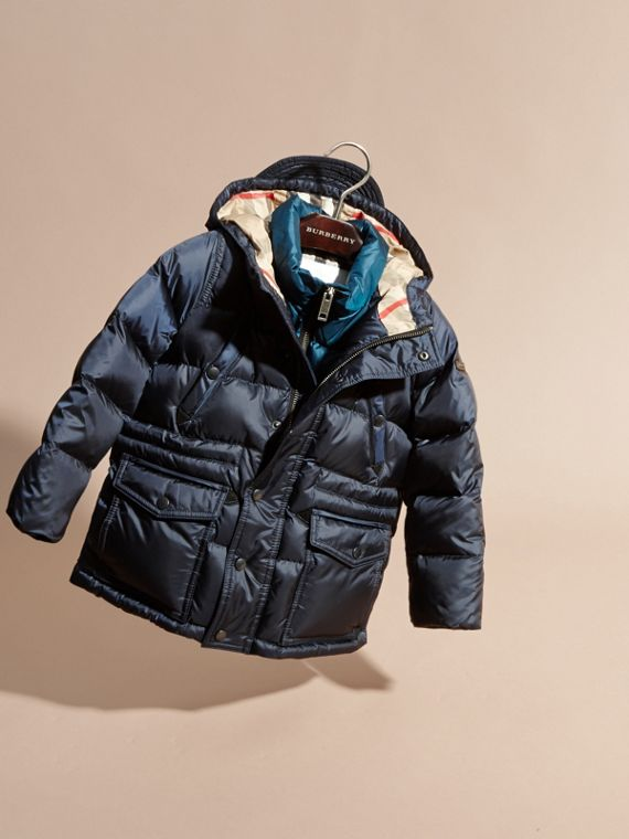 Down-Filled Hooded Puffer Coat in Navy - cell image 2