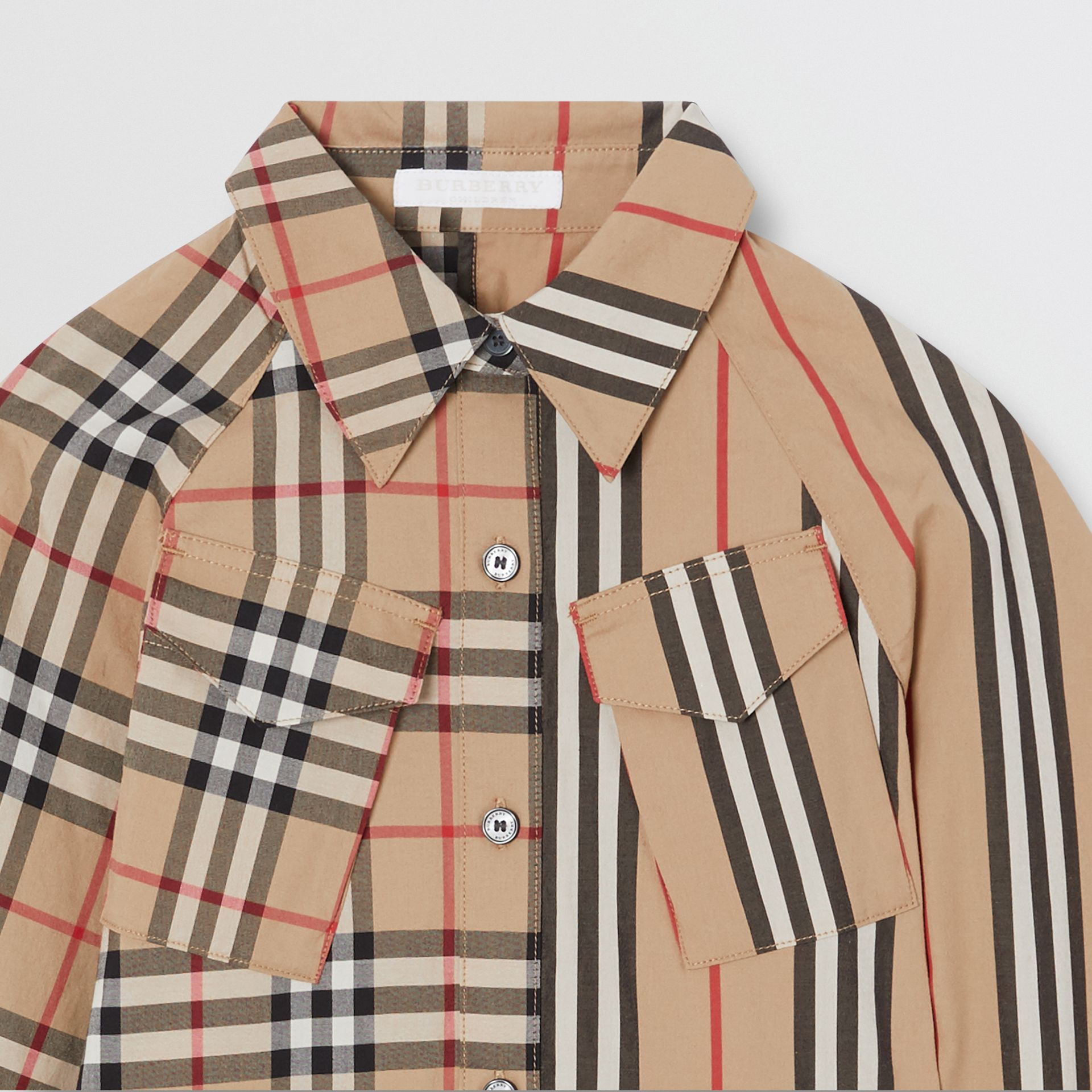 Vintage Check and Icon Stripe Cotton Shirt Dress in Archive Beige | Burberry - gallery image 4