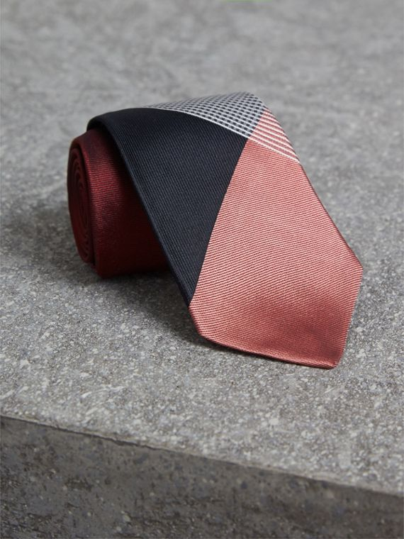 Modern Cut Check Silk Twill Jacquard Tie in Coral Red