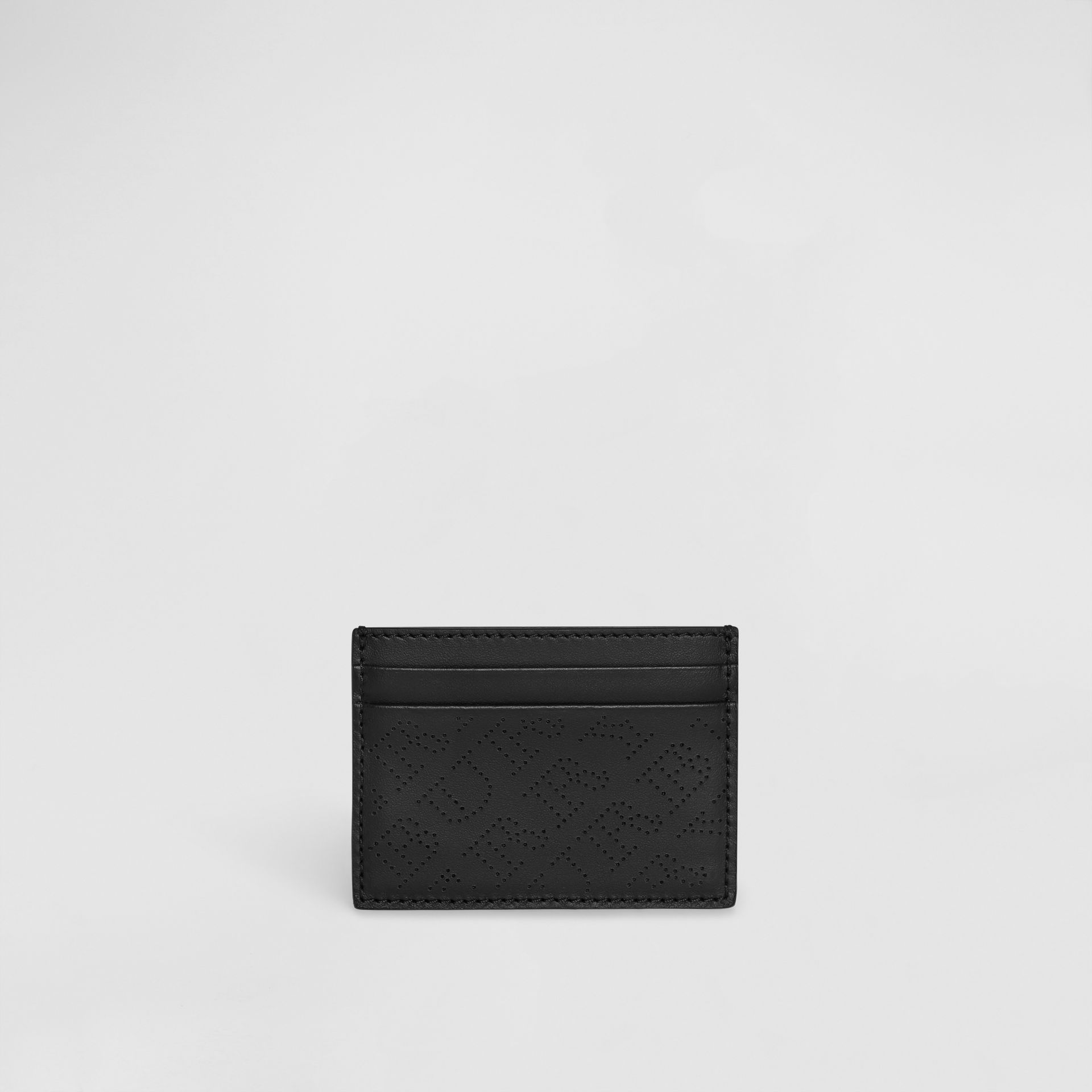 Perforated Logo Leather Card Case in Black - Women | Burberry - gallery image 2