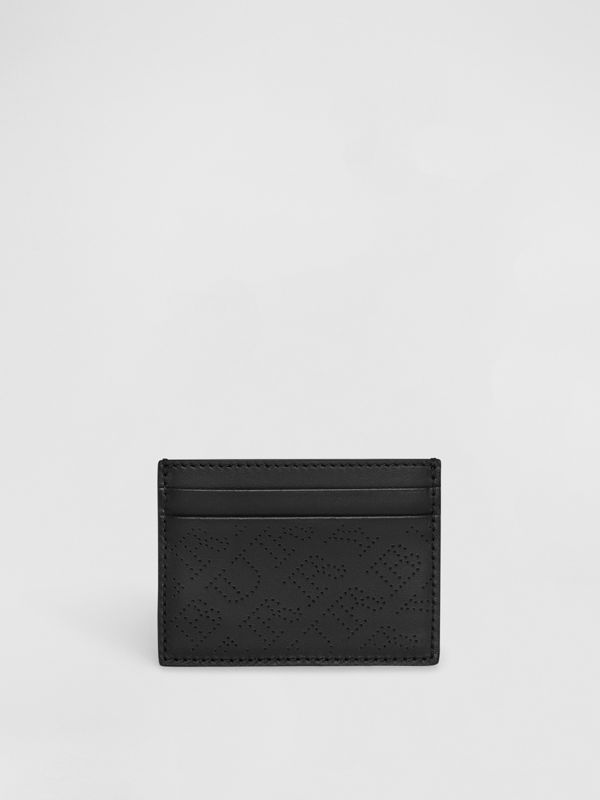 Perforated Logo Leather Card Case in Black - Women | Burberry Australia - cell image 2