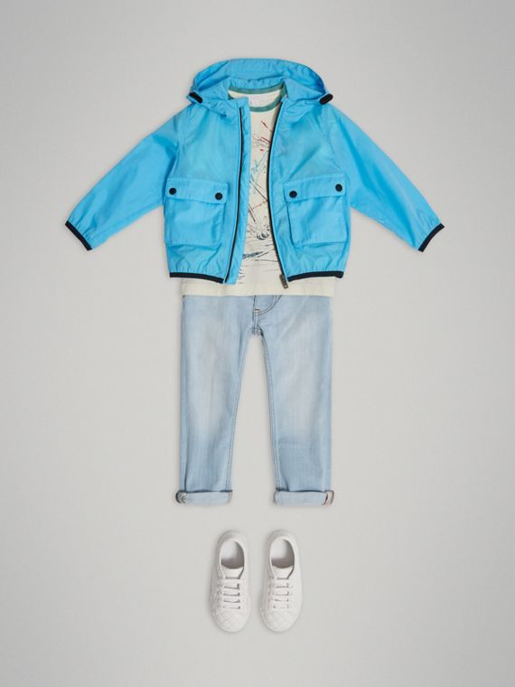 Showerproof Hooded Jacket in Bright Turquoise - Boy | Burberry Canada - cell image 2