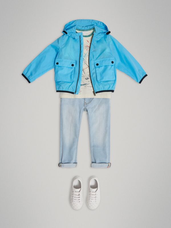Showerproof Hooded Jacket in Bright Turquoise - Boy | Burberry United Kingdom - cell image 2