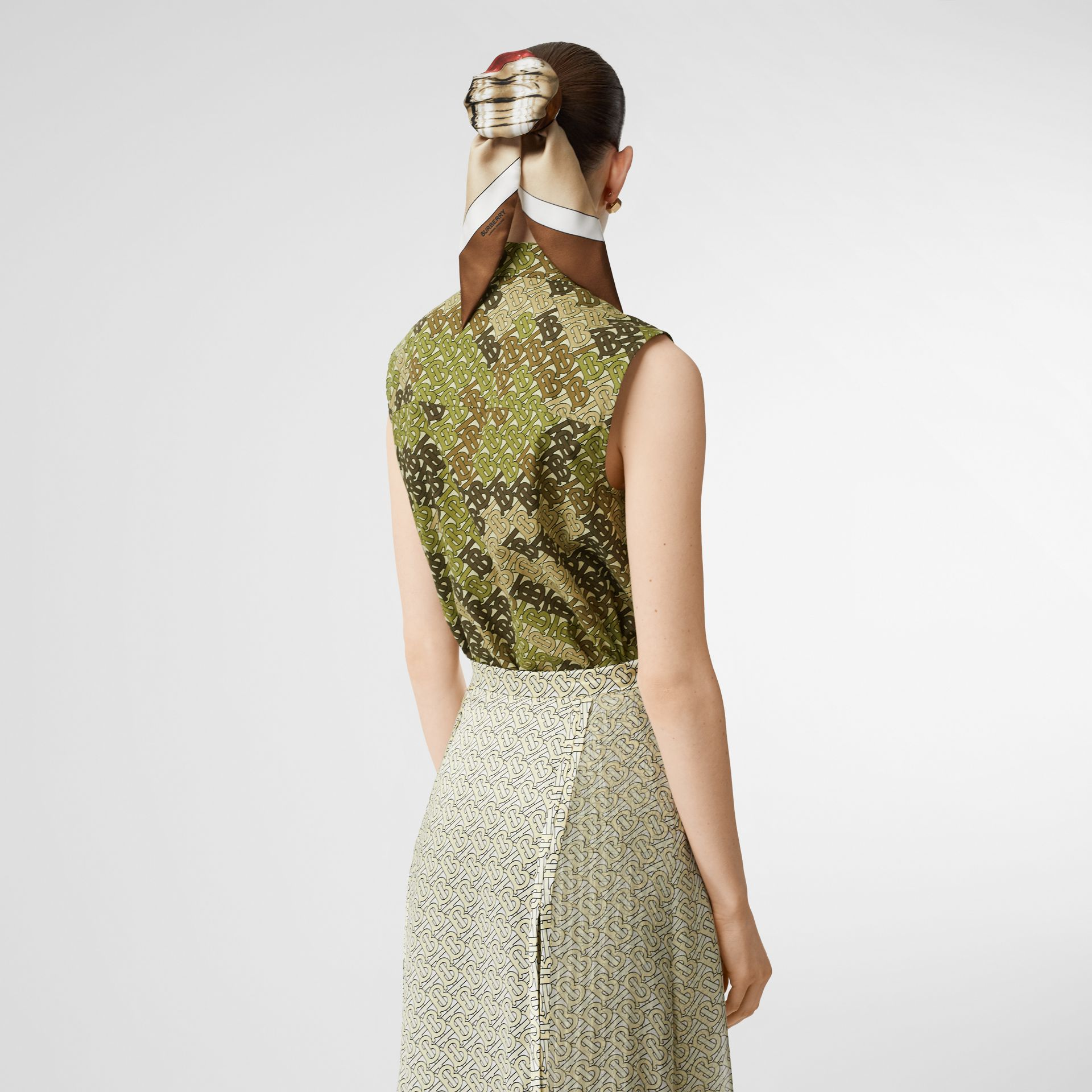 Sleeveless Monogram Print Cotton Poplin Shirt in Khaki Green - Women | Burberry - gallery image 2