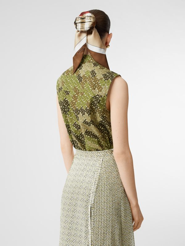 Sleeveless Monogram Print Cotton Poplin Shirt in Khaki Green - Women | Burberry - cell image 2