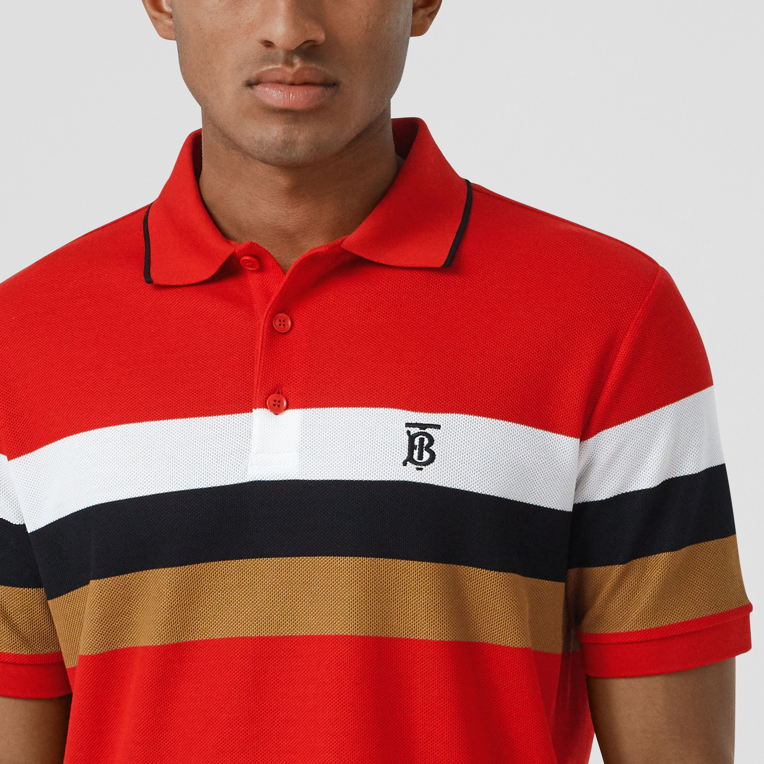 Monogram Motif Striped Cotton Polo Shirt in Bright Red - Men | Burberry - 2