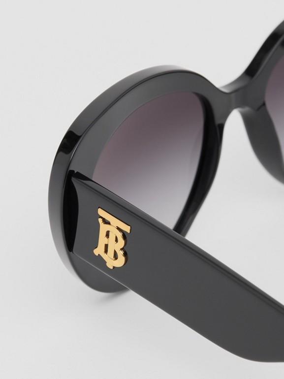 Monogram Motif Cat-eye Frame Sunglasses in Black - Women | Burberry - cell image 1