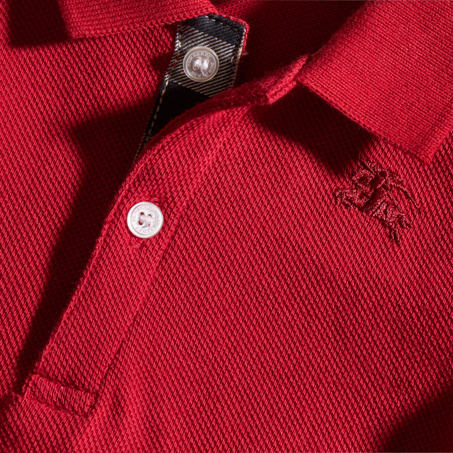 Cotton Piqué Polo Shirt in Military Red | Burberry Singapore - gallery image 2