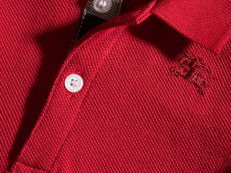 Cotton Piqué Polo Shirt in Military Red | Burberry Singapore - cell image 1