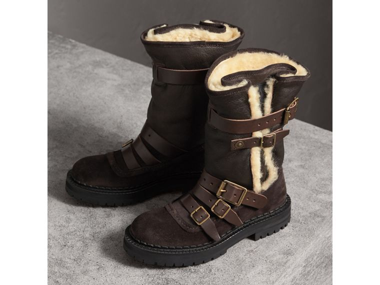 Buckle Detail Shearling and Suede Boots in Charcoal Brown - Women | Burberry - cell image 4