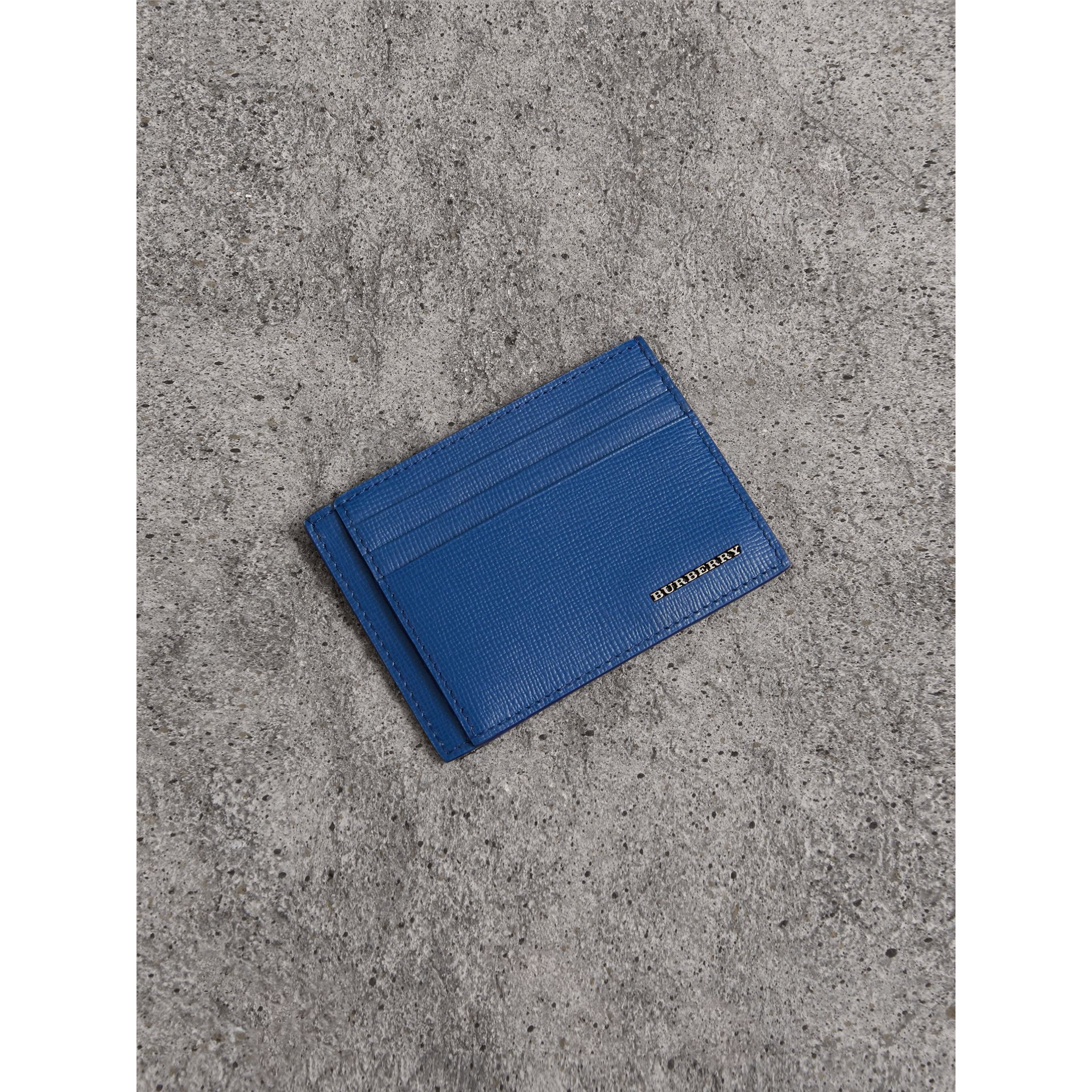 London Leather Card Case in Deep Blue | Burberry United Kingdom - gallery image 0