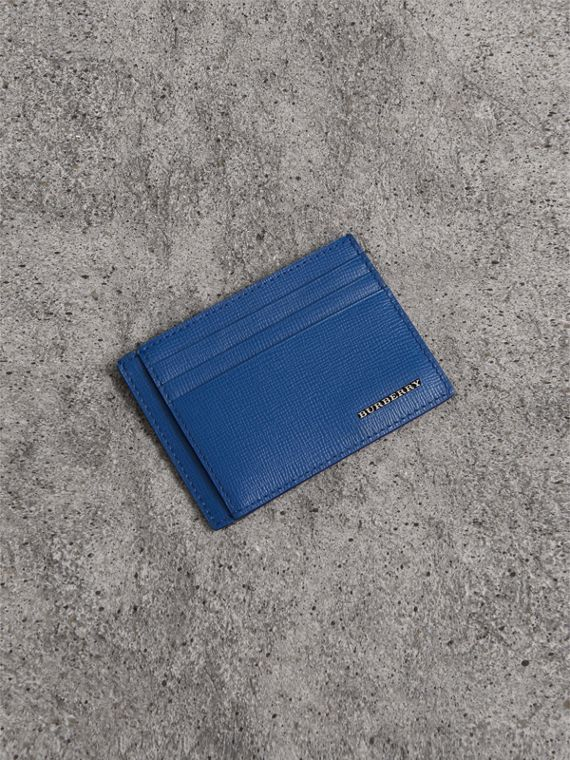 London Leather Card Case in Deep Blue
