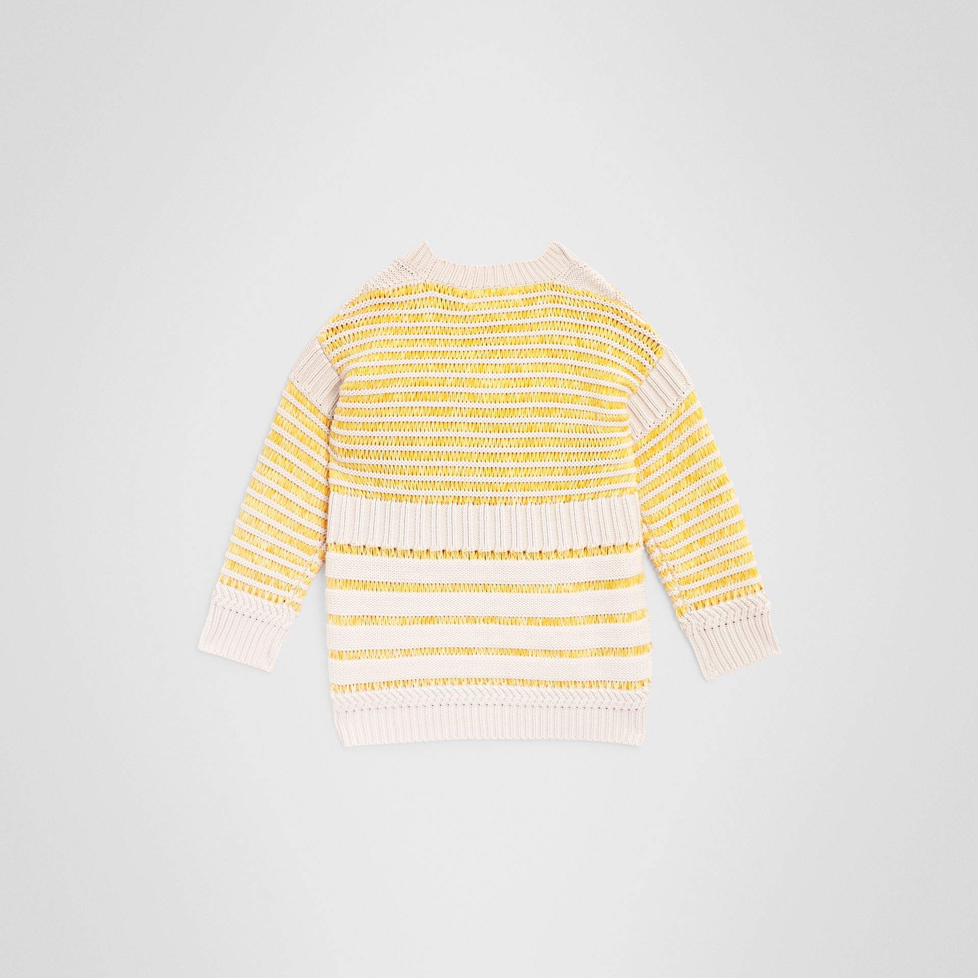Rib Knit Cotton Sweater in Bright Yellow | Burberry United Kingdom - gallery image 3