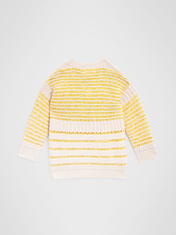 Rib Knit Cotton Sweater in Bright Yellow | Burberry - cell image 3