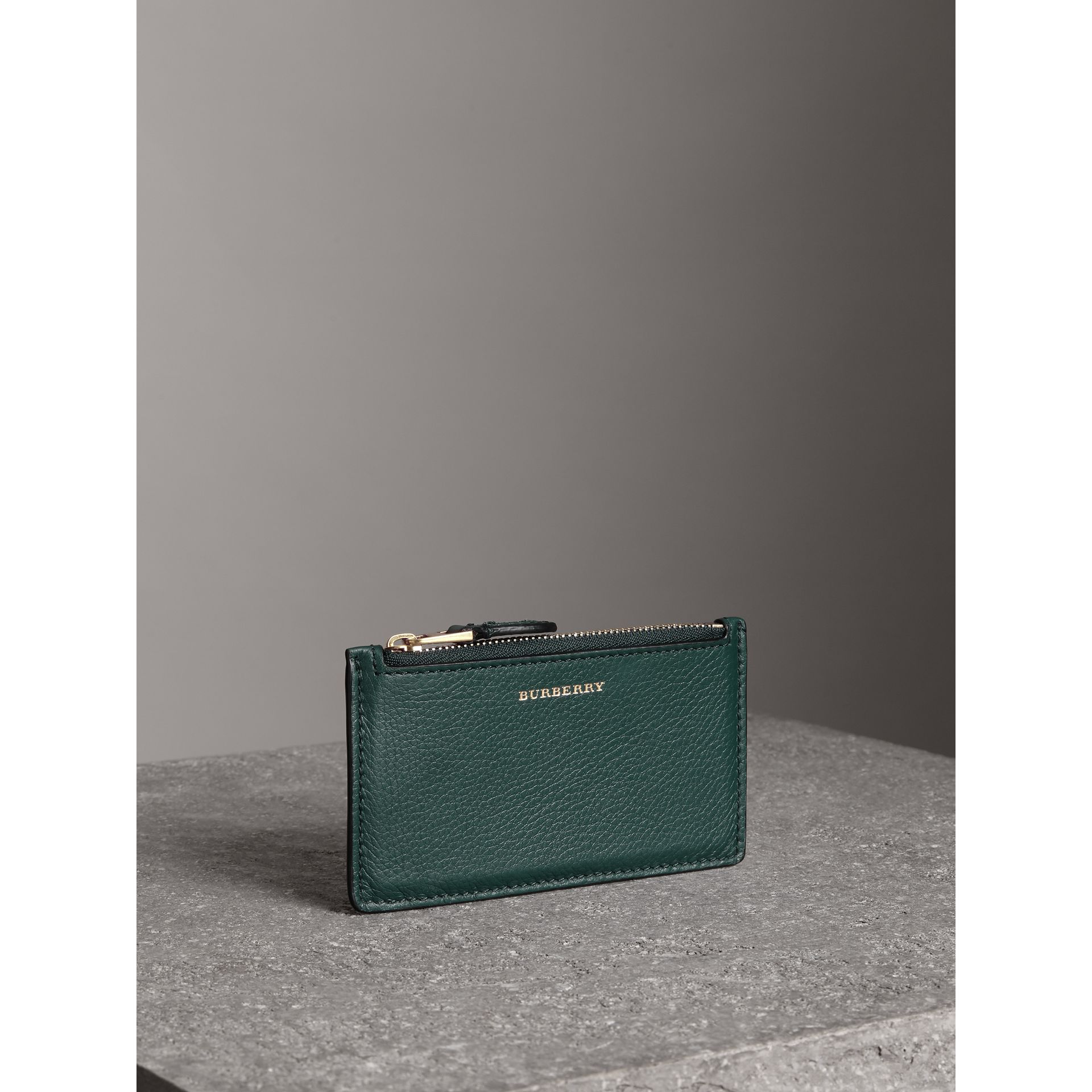 Two-tone Leather Zip Card Case in Dark Cyan | Burberry - gallery image 4