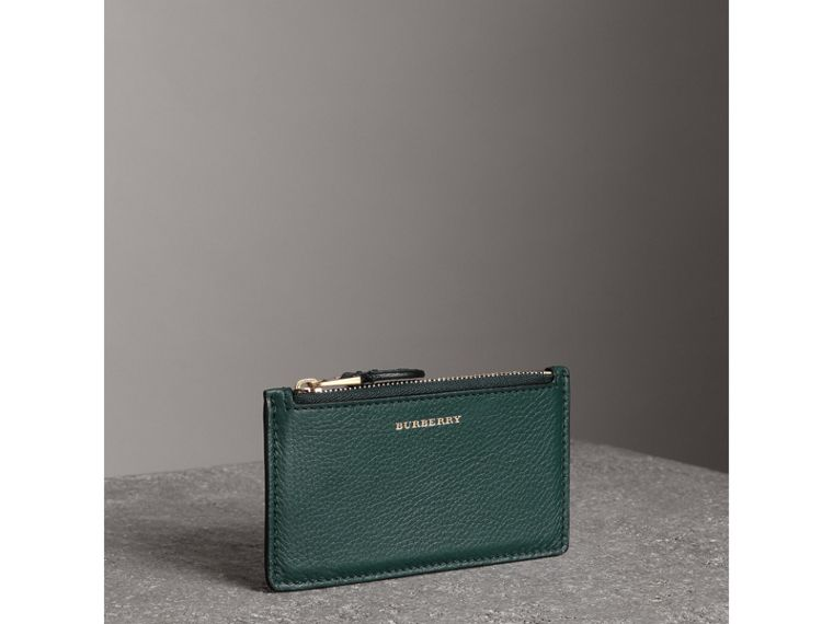 Two-tone Leather Zip Card Case in Dark Cyan | Burberry - cell image 4
