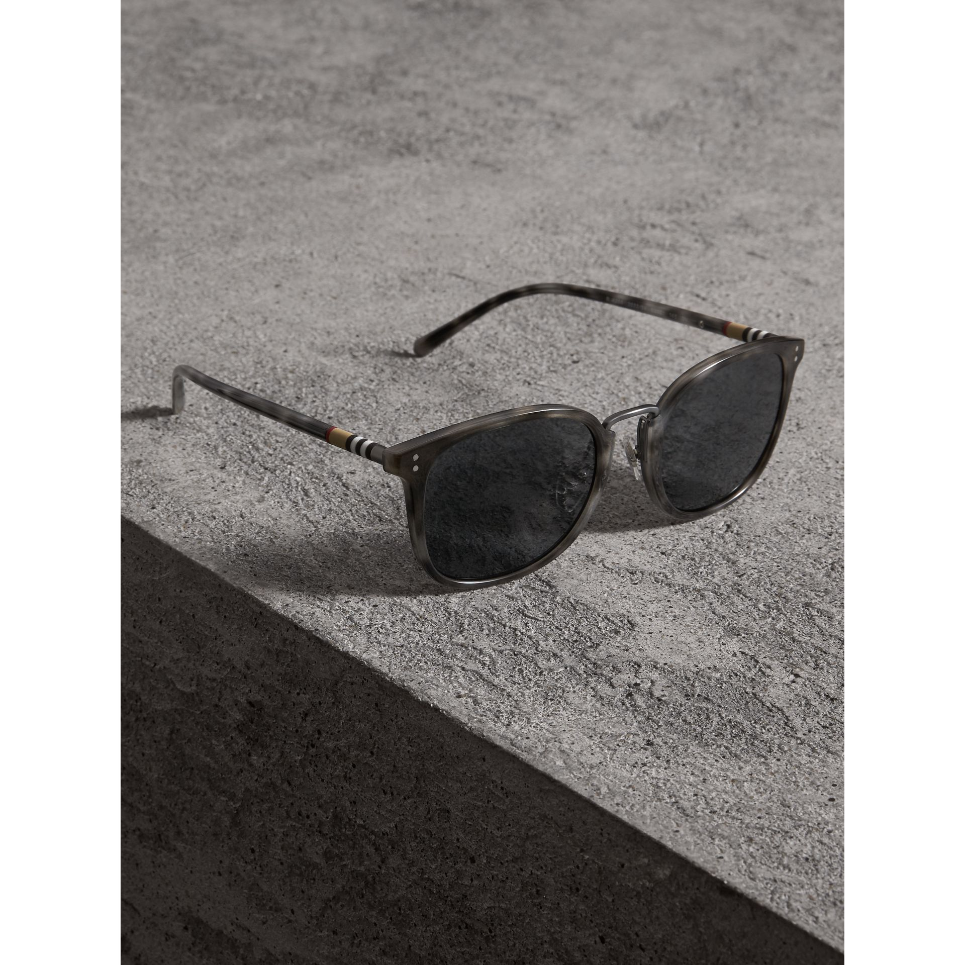 Square Frame Acetate Sunglasses in Grey - Men | Burberry - gallery image 3