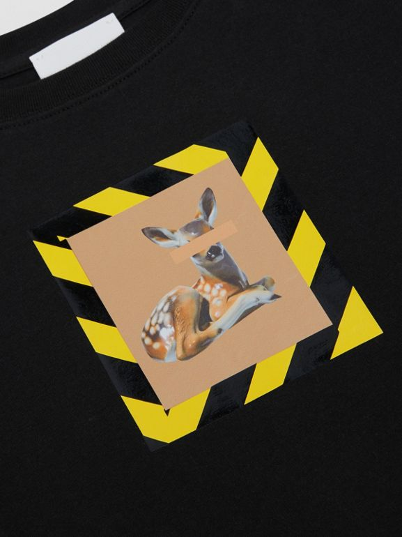 Deer Print Cotton T-shirt in Black   Burberry Australia - cell image 1