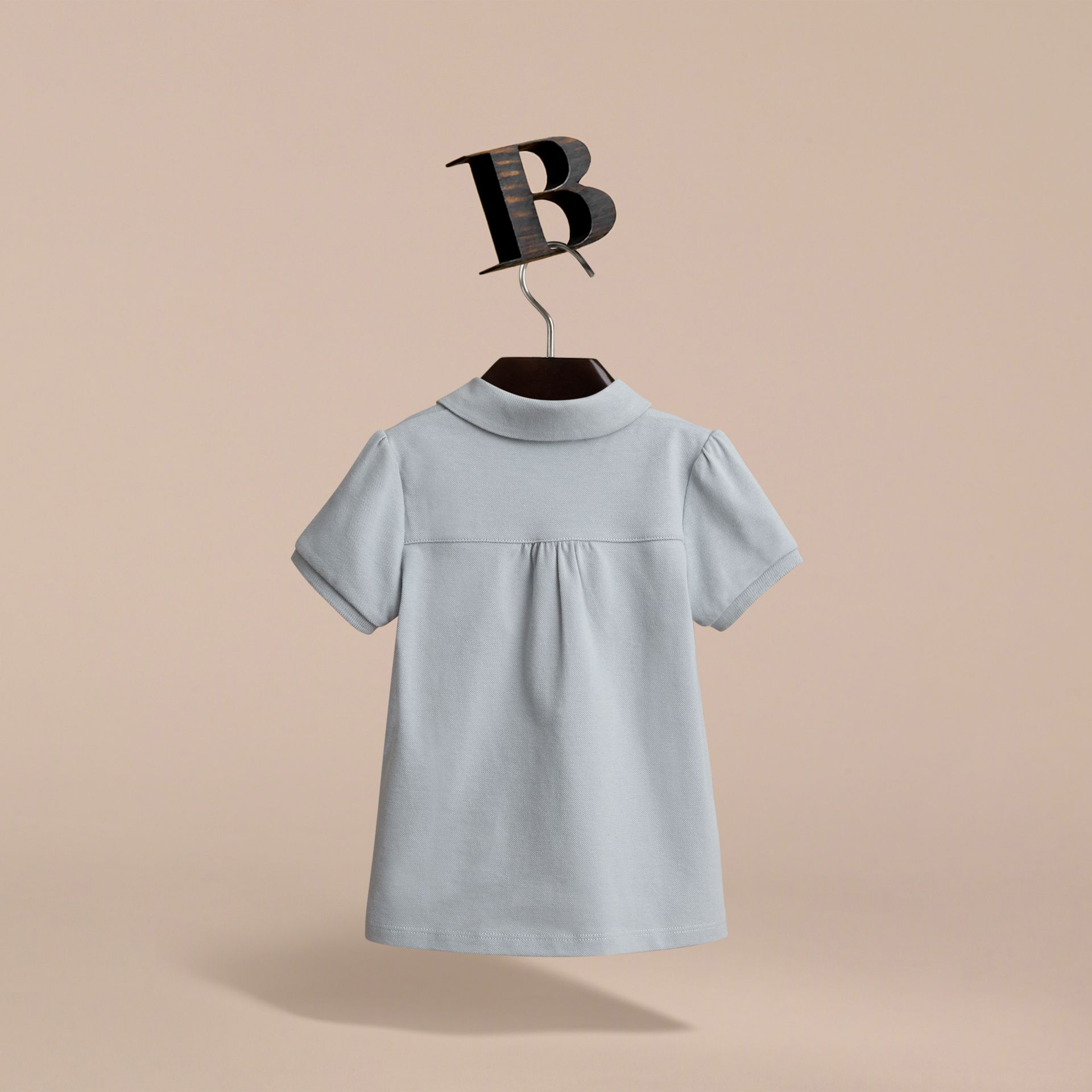 Peter Pan Collar Cotton Piqué Polo Shirt in Pale Slate Blue - Girl | Burberry - gallery image 3
