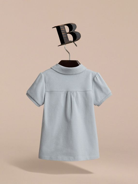 Peter Pan Collar Cotton Piqué Polo Shirt in Pale Slate Blue - Girl | Burberry - cell image 3