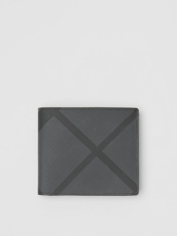 London Check International Bifold Coin Wallet in Charcoal/black