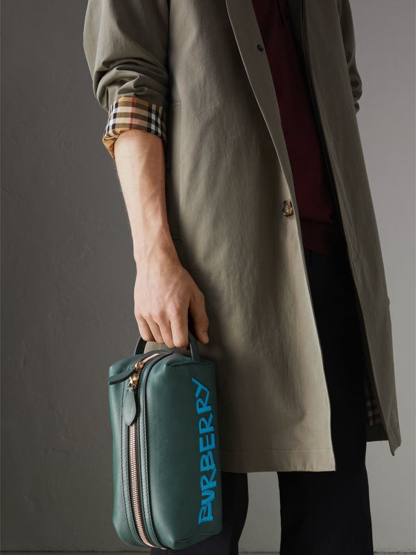 Graffiti Print Leather Pouch in Deep Bottle Green | Burberry - cell image 3